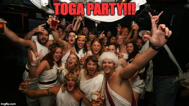 When You've Had Enough Of The Everyday, Whaddya Do? | TOGA PARTY!!! | image tagged in party hearty baby | made w/ Imgflip meme maker