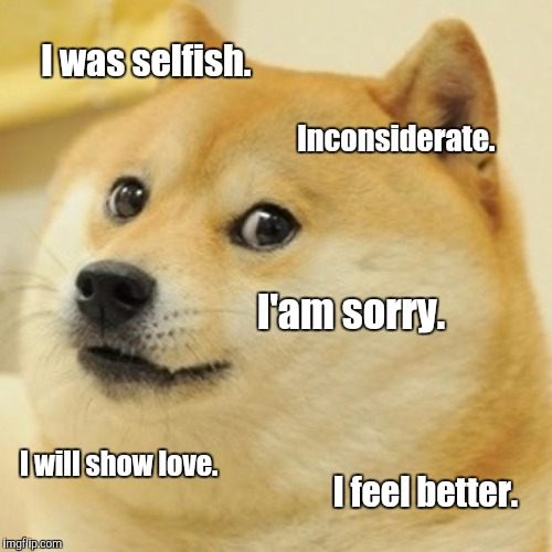 Doge Meme | I was selfish. Inconsiderate. I'am sorry. I will show love. I feel better. | image tagged in memes,doge | made w/ Imgflip meme maker