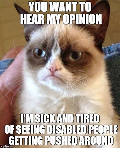 Disabled People Being Helped | YOU WANT TO HEAR MY OPINION I'M SICK AND TIRED OF SEEING DISABLED PEOPLE GETTING PUSHED AROUND | image tagged in memes,grumpy cat,funny,gifs,disability,pie chart | made w/ Imgflip meme maker