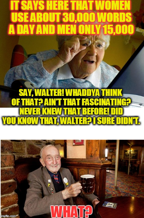 Maybe Because We Have to Repeat Ourselves All The Time | IT SAYS HERE THAT WOMEN USE ABOUT 30,000 WORDS A DAY AND MEN ONLY 15,000 WHAT? SAY, WALTER! WHADDYA THINK OF THAT? AIN'T THAT FASCINATING? N | image tagged in meme,funny,joke,kenj shabbyroses template,men and women | made w/ Imgflip meme maker
