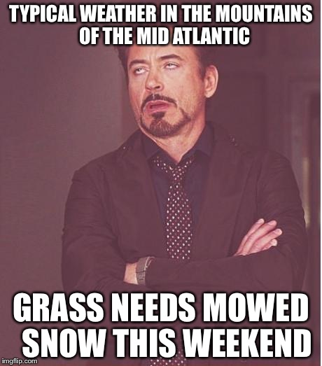 Face You Make Robert Downey Jr Meme | TYPICAL WEATHER IN THE MOUNTAINS  OF THE MID ATLANTIC GRASS NEEDS MOWED  SNOW THIS WEEKEND | image tagged in memes,face you make robert downey jr | made w/ Imgflip meme maker