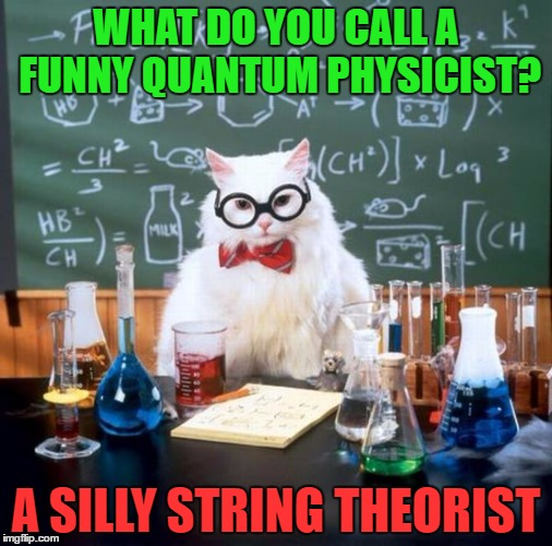 Chemistry Cat Meme | WHAT DO YOU CALL A FUNNY QUANTUM PHYSICIST? A SILLY STRING THEORIST | image tagged in memes,chemistry cat | made w/ Imgflip meme maker