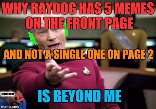 Its the way the puppy goes, I guess... | WHY RAYDOG HAS 5 MEMES ON THE FRONT PAGE AND NOT A SINGLE ONE ON PAGE 2 IS BEYOND ME TRIGGERED | image tagged in memes,picard wtf,raydog,goblin picard,triggered | made w/ Imgflip meme maker