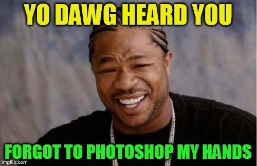 Yo Dawg Heard You Meme | YO DAWG HEARD YOU FORGOT TO PHOTOSHOP MY HANDS | image tagged in memes,yo dawg heard you | made w/ Imgflip meme maker