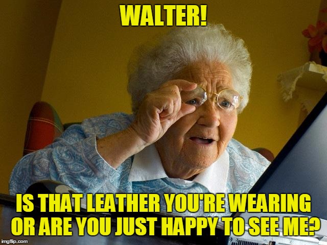 Grandma Finds The Internet Meme | WALTER! IS THAT LEATHER YOU'RE WEARING OR ARE YOU JUST HAPPY TO SEE ME? | image tagged in memes,grandma finds the internet | made w/ Imgflip meme maker