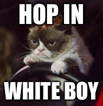 Grumpy Cat Car | HOP IN WHITE BOY | image tagged in grumpy cat car,scumbag | made w/ Imgflip meme maker