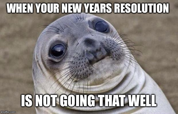 Awkward Moment Sealion Meme | WHEN YOUR NEW YEARS RESOLUTION IS NOT GOING THAT WELL | image tagged in memes,awkward moment sealion | made w/ Imgflip meme maker