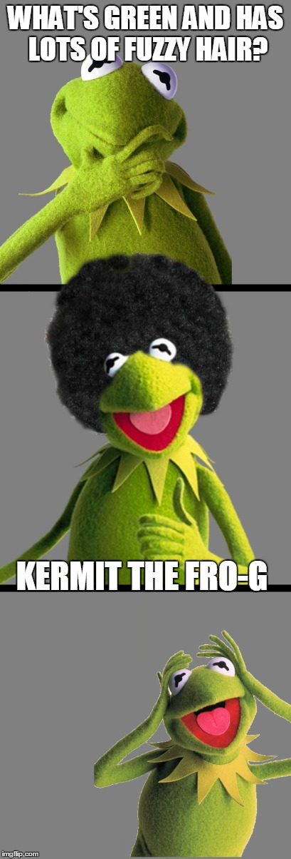 Fuzzy Hair? Ain't Nobody Got Time Fro Dat | WHAT'S GREEN AND HAS LOTS OF FUZZY HAIR? KERMIT THE FRO-G | image tagged in kermit,bad pun kermit,fro | made w/ Imgflip meme maker