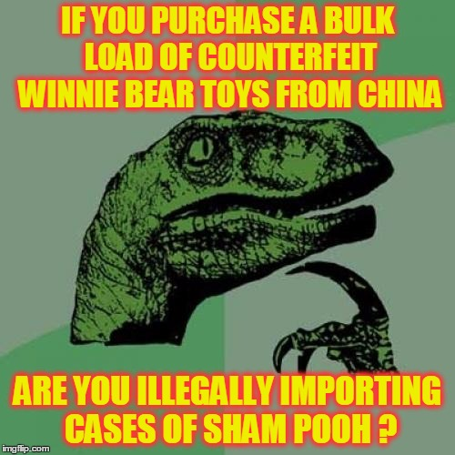 Let's ask Christopher Robbin ! | IF YOU PURCHASE A BULK LOAD OF COUNTERFEIT WINNIE BEAR TOYS FROM CHINA ARE YOU ILLEGALLY IMPORTING CASES OF SHAM POOH ? | image tagged in memes,philosoraptor | made w/ Imgflip meme maker