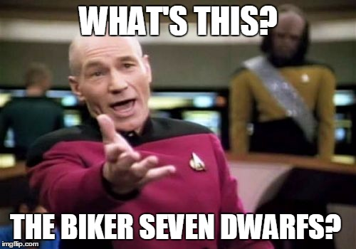 Picard Wtf Meme | WHAT'S THIS? THE BIKER SEVEN DWARFS? | image tagged in memes,picard wtf | made w/ Imgflip meme maker