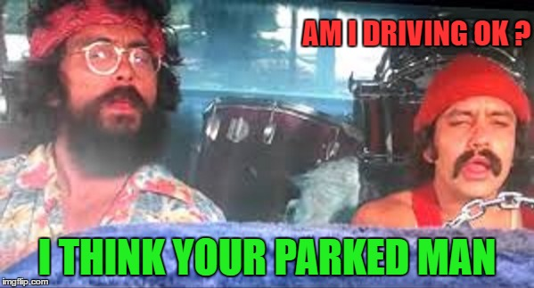 Cheech and Chong | AM I DRIVING OK ? I THINK YOUR PARKED MAN | image tagged in funny memes | made w/ Imgflip meme maker