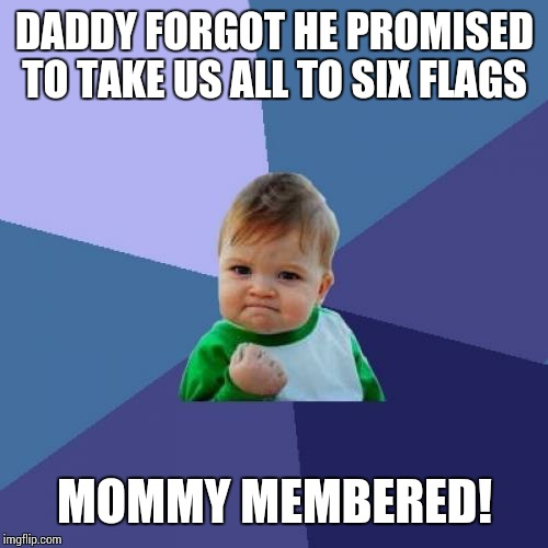 Success Kid Meme | DADDY FORGOT HE PROMISED TO TAKE US ALL TO SIX FLAGS MOMMY MEMBERED! | image tagged in memes,success kid | made w/ Imgflip meme maker