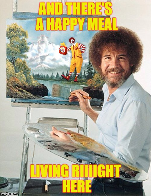 "Bob Ross pro tip #16: ""Don't paint hungry"". Bob Ross Week ... A Lafonso Event 