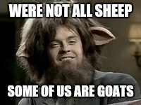 WERE NOT ALL SHEEP SOME OF US ARE GOATS | made w/ Imgflip meme maker