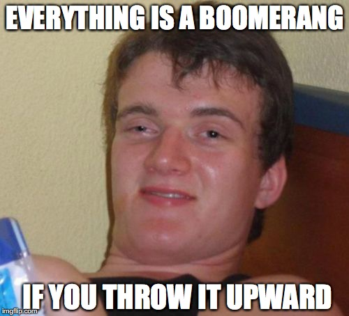 Boomerang Effect | EVERYTHING IS A BOOMERANG IF YOU THROW IT UPWARD | image tagged in memes,10 guy | made w/ Imgflip meme maker