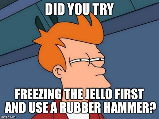 Futurama Fry Meme | DID YOU TRY FREEZING THE JELLO FIRST AND USE A RUBBER HAMMER? | image tagged in memes,futurama fry | made w/ Imgflip meme maker