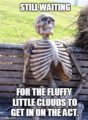 Waiting Skeleton Meme | STILL WAITING FOR THE FLUFFY LITTLE CLOUDS TO GET IN ON THE ACT. | image tagged in memes,waiting skeleton | made w/ Imgflip meme maker