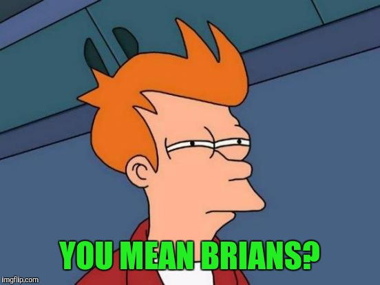 Futurama Fry Meme | YOU MEAN BRIANS? | image tagged in memes,futurama fry | made w/ Imgflip meme maker