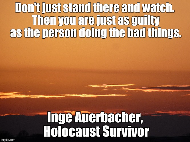 Don't just stand there and watch. Then you are just as guilty as the person doing the bad things. Inge Auerbacher, Holocaust Survivor | image tagged in mikesnoworg,holocaust,inge auerbacher | made w/ Imgflip meme maker