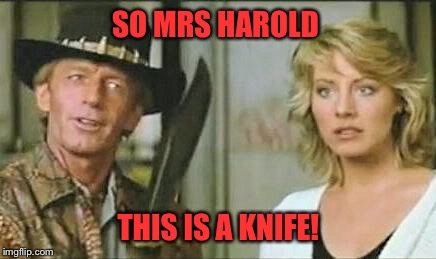 SO MRS HAROLD THIS IS A KNIFE! | made w/ Imgflip meme maker