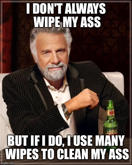 The Most Interesting Man In The World Meme | I DON'T ALWAYS WIPE MY ASS BUT IF I DO, I USE MANY WIPES TO CLEAN MY ASS | image tagged in memes,the most interesting man in the world | made w/ Imgflip meme maker