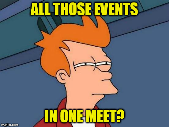 Futurama Fry Meme | ALL THOSE EVENTS IN ONE MEET? | image tagged in memes,futurama fry | made w/ Imgflip meme maker