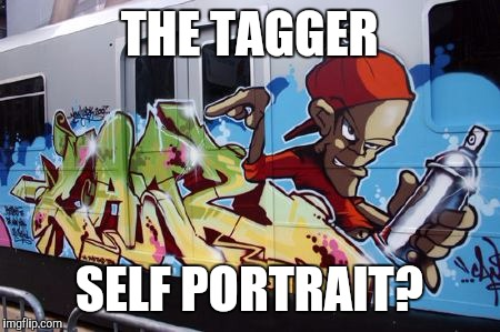 Part 5: Amazing Train Graffiti. Homage to Bob Ross Week | THE TAGGER SELF PORTRAIT? | image tagged in bob ross week,trains,graffiti,artists | made w/ Imgflip meme maker