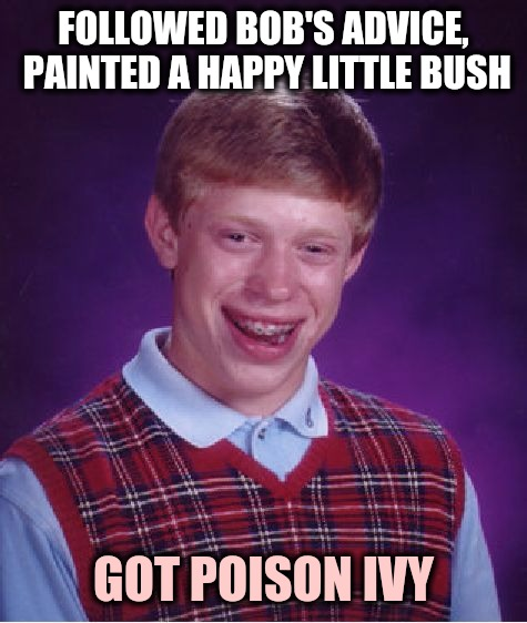 Guess he was itching to paint. Bob Ross Week. | FOLLOWED BOB'S ADVICE, PAINTED A HAPPY LITTLE BUSH GOT POISON IVY | image tagged in memes,bad luck brian,bob ross week,painting,poison ivy | made w/ Imgflip meme maker
