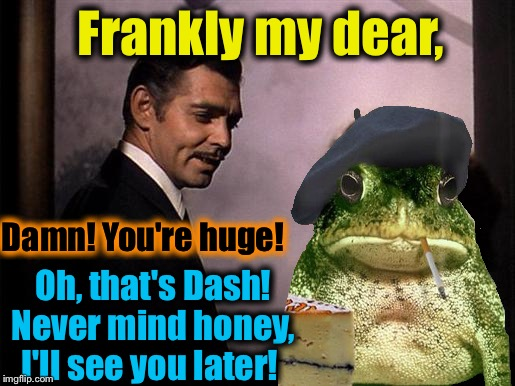 Frankly my dear, Oh, that's Dash! Never mind honey, I'll see you later! Damn! You're huge! | made w/ Imgflip meme maker