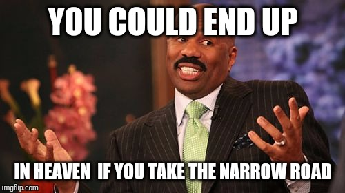 Steve Harvey Meme | YOU COULD END UP IN HEAVEN  IF YOU TAKE THE NARROW ROAD | image tagged in memes,steve harvey | made w/ Imgflip meme maker
