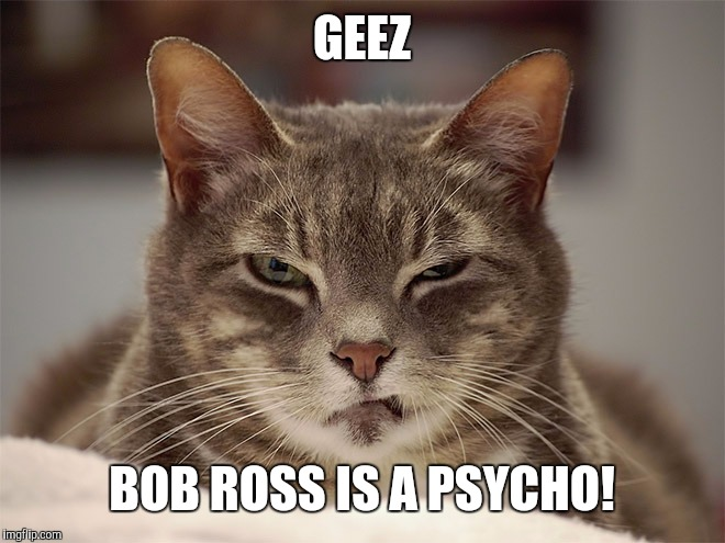 Sarcasm Cat | GEEZ BOB ROSS IS A PSYCHO! | image tagged in sarcasm cat | made w/ Imgflip meme maker