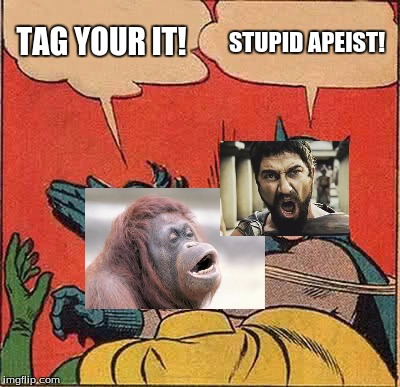 Batman Slapping Robin Meme | TAG YOUR IT! STUPID APEIST! | image tagged in memes,batman slapping robin | made w/ Imgflip meme maker