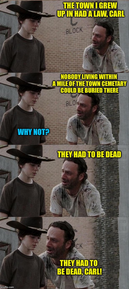 Rick and Carl Long Meme | THE TOWN I GREW UP IN HAD A LAW, CARL NOBODY LIVING WITHIN A MILE OF THE TOWN CEMETARY COULD BE BURIED THERE WHY NOT? THEY HAD TO BE DEAD TH | image tagged in memes,rick and carl long | made w/ Imgflip meme maker