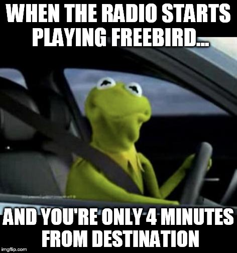 Kermit Driving |  WHEN THE RADIO STARTS PLAYING FREEBIRD... AND YOU'RE ONLY 4 MINUTES FROM DESTINATION | image tagged in kermit driving | made w/ Imgflip meme maker