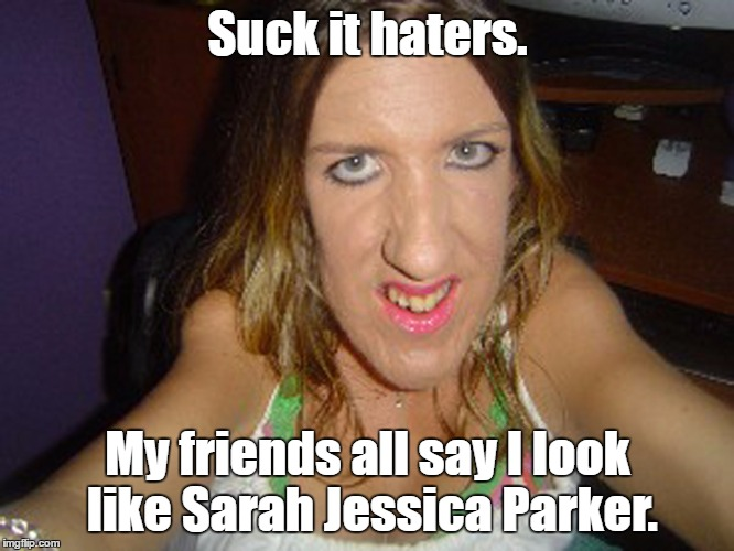 Suck it haters. My friends all say I look like Sarah Jessica Parker. | image tagged in horse face | made w/ Imgflip meme maker