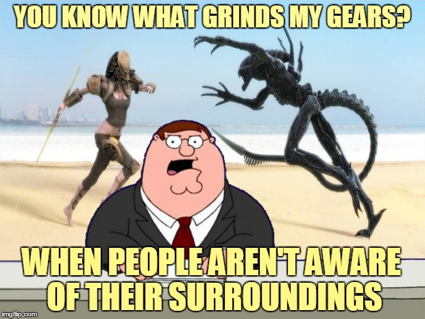 TV anchor killed as casualty of intergalactic warfare. News at 11. | YOU KNOW WHAT GRINDS MY GEARS? WHEN PEOPLE AREN'T AWARE OF THEIR SURROUNDINGS | image tagged in memes,peter griffin news,you know what grinds my gears,aliens,alien vs predator,awareness | made w/ Imgflip meme maker