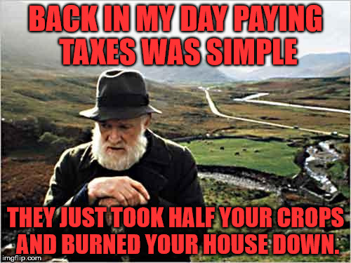 Hating on the I.R.S. |  BACK IN MY DAY PAYING TAXES WAS SIMPLE; THEY JUST TOOK HALF YOUR CROPS AND BURNED YOUR HOUSE DOWN. | image tagged in taxpayer,income taxes | made w/ Imgflip meme maker