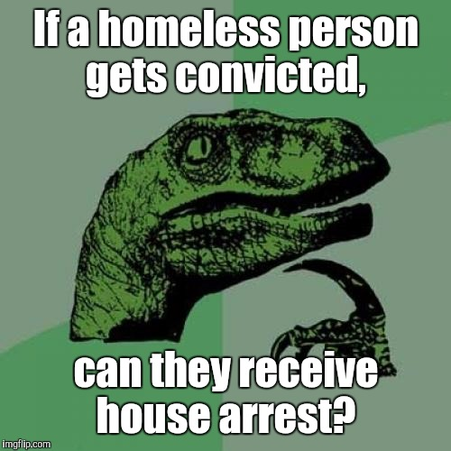 Philosoraptor Meme | If a homeless person gets convicted, can they receive house arrest? | image tagged in memes,philosoraptor | made w/ Imgflip meme maker