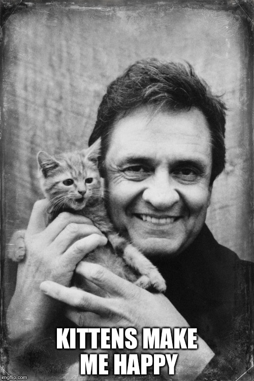 Johnny Cash Cat | KITTENS MAKE ME HAPPY | image tagged in johnny cash cat | made w/ Imgflip meme maker