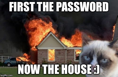 Burn Kitty Meme | FIRST THE PASSWORD NOW THE HOUSE :) | image tagged in memes,burn kitty,grumpy cat | made w/ Imgflip meme maker