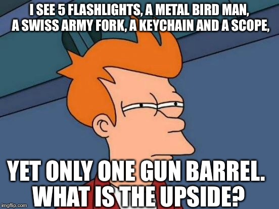 Futurama Fry Meme | I SEE 5 FLASHLIGHTS, A METAL BIRD MAN, A SWISS ARMY FORK, A KEYCHAIN AND A SCOPE, YET ONLY ONE GUN BARREL. WHAT IS THE UPSIDE? | image tagged in memes,futurama fry | made w/ Imgflip meme maker