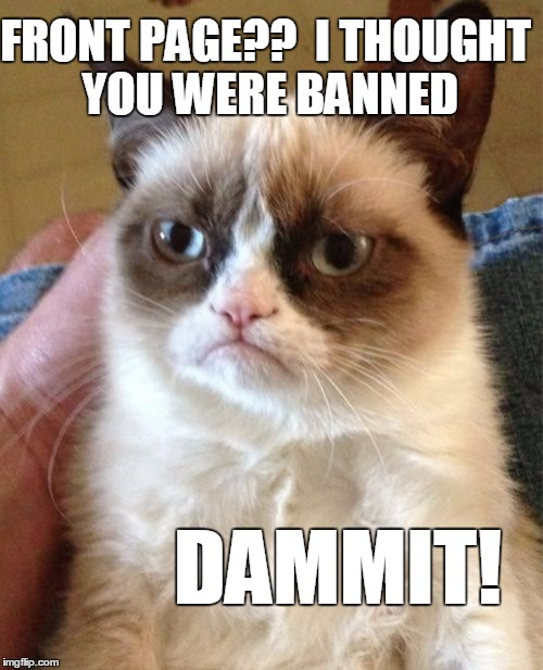 Grumpy Cat Meme | FRONT PAGE??  I THOUGHT YOU WERE BANNED DAMMIT! | image tagged in memes,grumpy cat | made w/ Imgflip meme maker