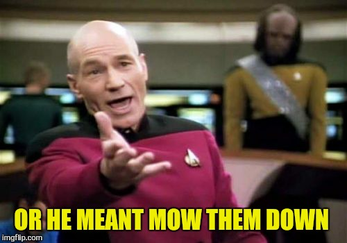 Picard Wtf Meme | OR HE MEANT MOW THEM DOWN | image tagged in memes,picard wtf | made w/ Imgflip meme maker
