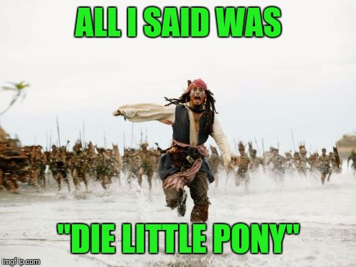 "ALL I SAID WAS ""DIE LITTLE PONY"" 