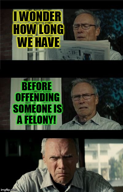 Bad Eastwood Pun | I WONDER HOW LONG WE HAVE BEFORE OFFENDING SOMEONE IS A FELONY! | image tagged in bad eastwood pun,offended,meme,memes,offending,the world of today | made w/ Imgflip meme maker
