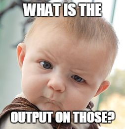 Skeptical Baby Meme | WHAT IS THE OUTPUT ON THOSE? | image tagged in memes,skeptical baby | made w/ Imgflip meme maker