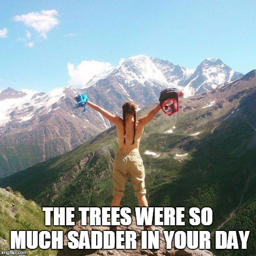 THE TREES WERE SO MUCH SADDER IN YOUR DAY | made w/ Imgflip meme maker