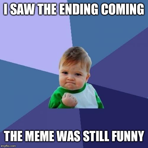 Success Kid Meme | I SAW THE ENDING COMING THE MEME WAS STILL FUNNY | image tagged in memes,success kid | made w/ Imgflip meme maker