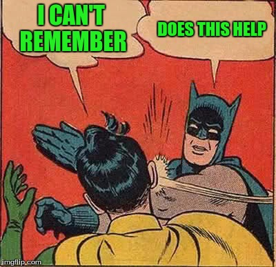 Batman Slapping Robin Meme | I CAN'T REMEMBER DOES THIS HELP | image tagged in memes,batman slapping robin | made w/ Imgflip meme maker