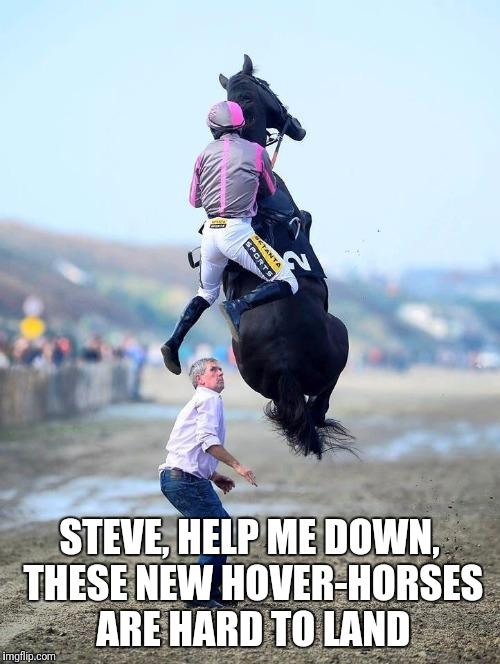 Dam hover-horses! | STEVE, HELP ME DOWN, THESE NEW HOVER-HORSES ARE HARD TO LAND | image tagged in off to the races,memes | made w/ Imgflip meme maker